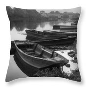 Boats on the Vienne Throw Pillow by Debra and Dave Vanderlaan