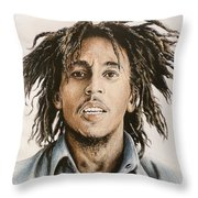 Bob Marley Throw Pillow by Andrew Read