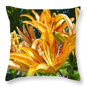 Bold Colorful Orange Lily Flowers Garden Throw Pillow by Baslee Troutman