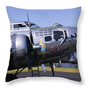 Bomber Sentimental Journey Throw Pillow by Garry Gay