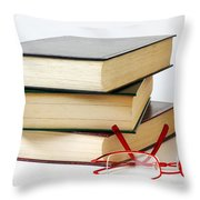 Books And Glasses Throw Pillow by Carlos Caetano