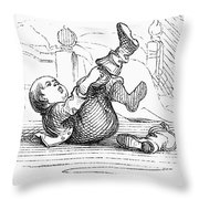 Boy Putting On Boots Throw Pillow by Granger
