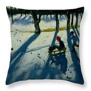 Boys Sledging Throw Pillow by Andrew Macara