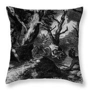 Braddocks Defeat, French And Indian Throw Pillow by Photo Researchers