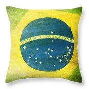 Brazil Flag Throw Pillow by Setsiri Silapasuwanchai
