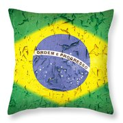 Brazil Flag Vintage Throw Pillow by Jane Rix