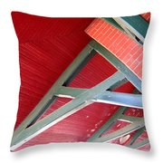 Brick And Wood Truss Throw Pillow by Denise Keegan Frawley