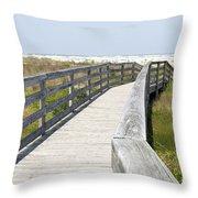 Bridge To The Beach Throw Pillow by Glennis Siverson