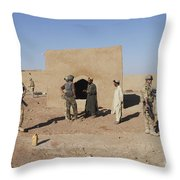 British Soldiers On Foot Patrol Throw Pillow by Andrew Chittock