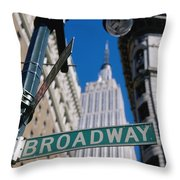 Broadway Sign And Empire State Building Throw Pillow by Axiom Photographic