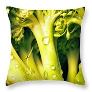 Broccoli Scape I Throw Pillow by Nancy Mueller