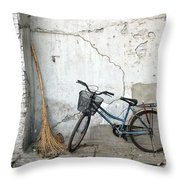 Broom and Bike Throw Pillow by Glennis Siverson