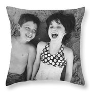 Brother And Sister On Beach Throw Pillow by Michelle Quance