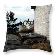 Browns Head Lighthouse Throw Pillow by Skip Willits