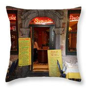 Brussels - Restaurant Savarin Throw Pillow by Carol Groenen
