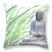 Buddha Grass Throw Pillow by Hannes Cmarits