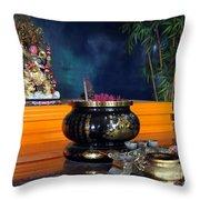 Buddhist Altar Throw Pillow by Yali Shi