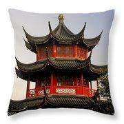 Buddhist Pagoda - Shanghai China Throw Pillow by Christine Till