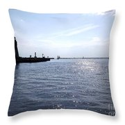 Buffalo Main Lighthouse And Buffalo Harbor Throw Pillow by Rose Santuci-Sofranko
