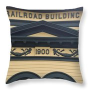 Building At Klondike Gold Rush National Throw Pillow by Michael Melford