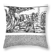 BURNING OF WITCHES, 1555 Throw Pillow by Granger