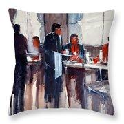 Business Lunch Throw Pillow by Ryan Radke