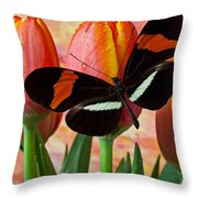 Butterfly On Orange Tulip Throw Pillow by Garry Gay