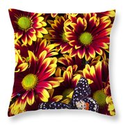 Butterfly On Yellow Red Daises  Throw Pillow by Garry Gay