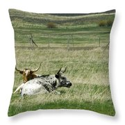 By The Horns Throw Pillow by Sara Stevenson