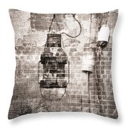 By the Sea in Brown Throw Pillow by Betty LaRue