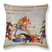 Byzantines Cavalrymen Pursuing The Rus Throw Pillow by Photo Researchers