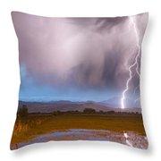 C2g Lightning Bolts Striking Longs Peak Foothills 6 Throw Pillow by James BO  Insogna
