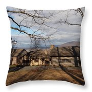 cabin in the woods Throw Pillow by Robert Margetts