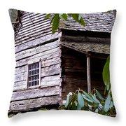 Cades Cove Cabin Throw Pillow by Jim Finch