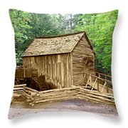 Cades Cove Mill Throw Pillow by Marty Koch