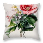 Camellia And Broom Throw Pillow by Marie-Anne
