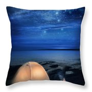Camping Tent By The Lake At Night Throw Pillow by Jill Battaglia