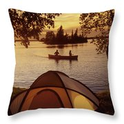 Canoeing At Otter Falls, Whiteshell Throw Pillow by Dave Reede