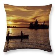 Canoeing At Sunset, Otter Falls Throw Pillow by Dave Reede