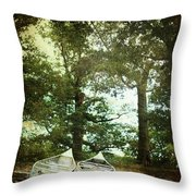 Canoes On The Shore Throw Pillow by Stephanie Frey