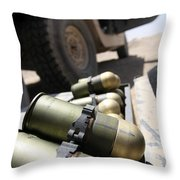Cans Of Opened 40 Mm Grenades Throw Pillow by Stocktrek Images