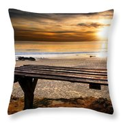 Carcavelos Beach Throw Pillow by Carlos Caetano