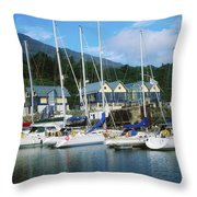 Carlingford Marina, Carlingford, County Throw Pillow by The Irish Image Collection