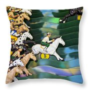 Carnival Horse Race Game Throw Pillow by Garry Gay