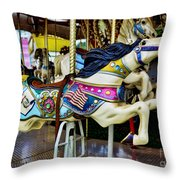 Carousel - Horse - Jumping Throw Pillow by Paul Ward