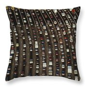 Cars Queue Up At A Tollbooth On The Bay Throw Pillow by James A. Sugar