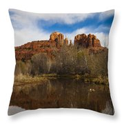 Cathedral Rock Reflections Portrait 2 Throw Pillow by Darcy Michaelchuk