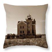 Cedar Island Lighthouse Throw Pillow by Skip Willits