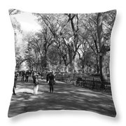 Central Park Mall In Black And White Throw Pillow by Rob Hans