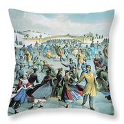 Central Park Skating Pond New York Throw Pillow by Photo Researchers